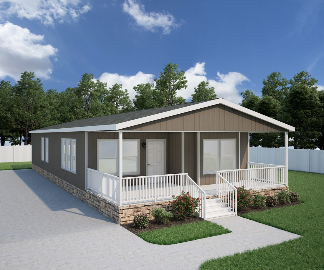 The ING561F SPRUCE       (FULL) GW Exterior. This Manufactured Mobile Home features 3 bedrooms and 2 baths.