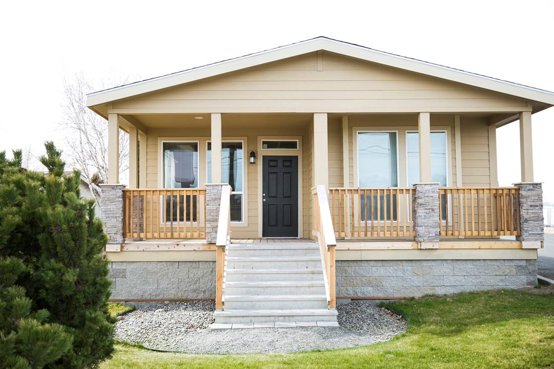The THE SPRUCE Exterior. This Manufactured Mobile Home features 3 bedrooms and 2 baths.