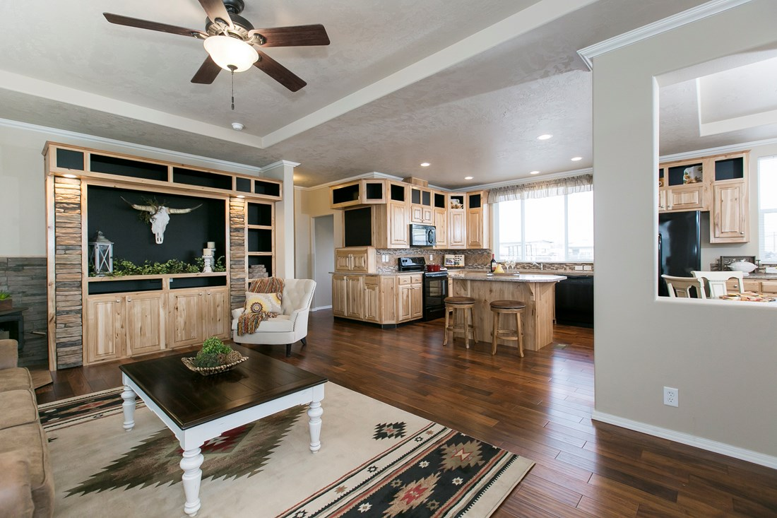 The THE SPRUCE Living Room. This Manufactured Mobile Home features 3 bedrooms and 2 baths.