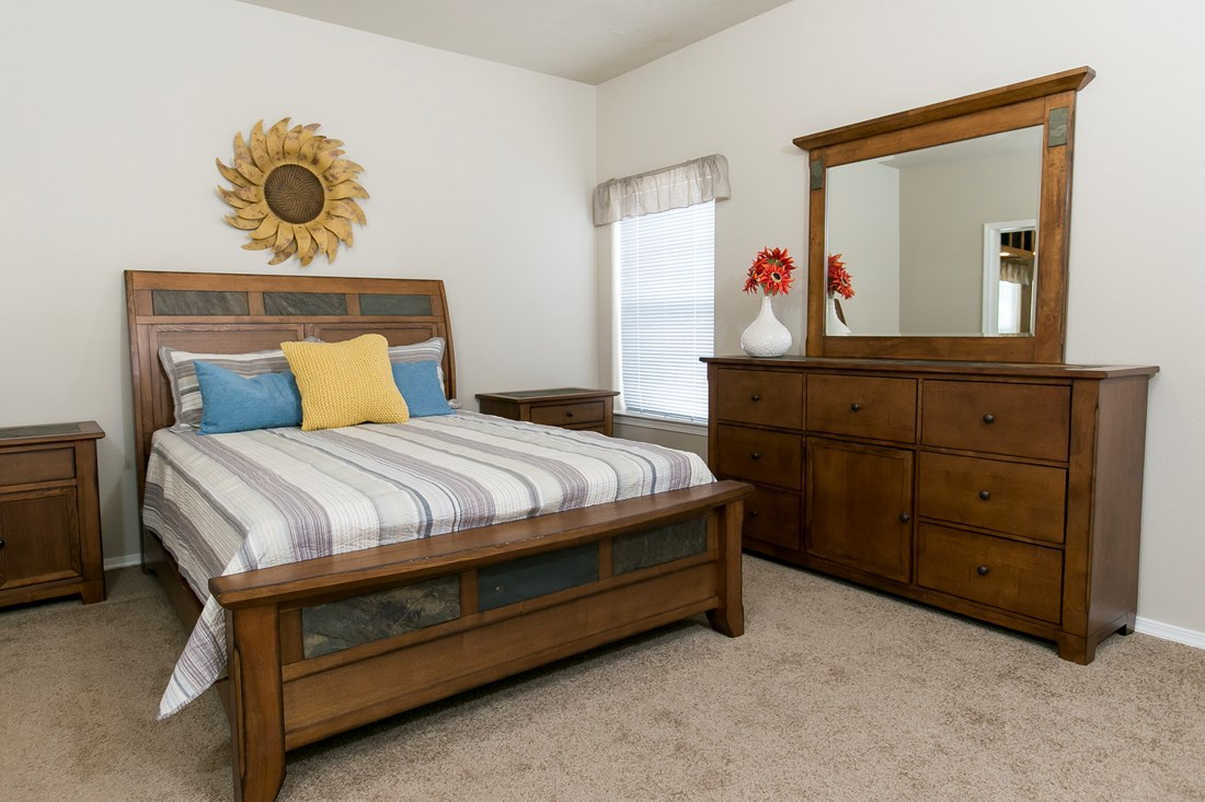 The THE SPRUCE Master Bedroom. This Manufactured Mobile Home features 3 bedrooms and 2 baths.